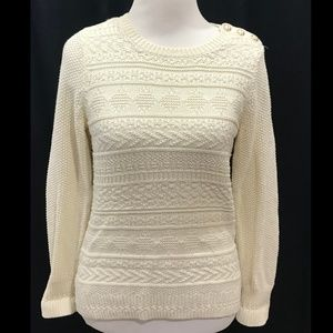 Talbots Size S Ivory Sweater Solid Pullover Cotton